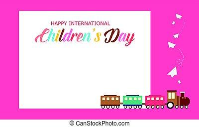 schattig, stijl, kinderen, trein, achtergrond, dag