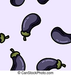 schattig, stijl, plat, model, seamless, aubergine, spotprent