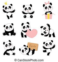 schattig, stijl, speelbal beesten, chinees, gekke , beer, panda, symbolen, baby, vector, verzameling, karakters, pandas., schattige, spotprent, mascotte