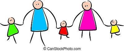 schattig, stok, gezin, holdingshanden