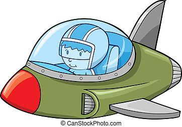 schattig, straalvliegtuig, leger, schaaf, vliegtuig, vector