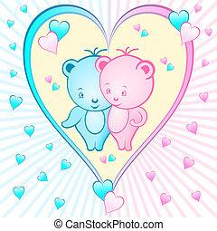 schattig, stripfiguren, beer, hart
