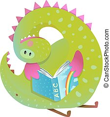 schattig, studeren, draak, boek, baby, lezende , spotprent