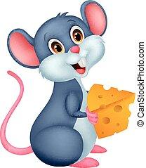 schattig, stuk, muis, spotprent, vasthouden