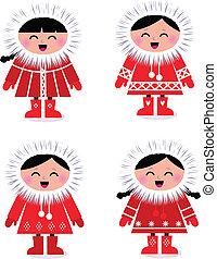 schattig, stylized, eskimo, verzameling, vrijstaand, op wit