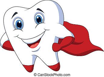 schattig, superhero, het poseren, spotprent, tand
