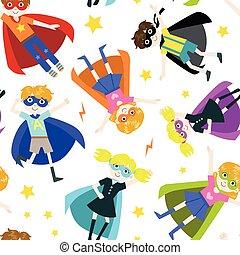 schattig, superhero, model, meiden, seamless, illustratie, jongens, vector