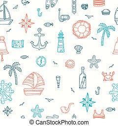 schattig, symbols., elements., iconen, model, seamless, hand, nautisch, getrokken, marinier