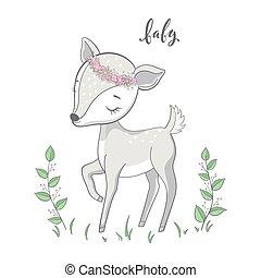 schattig, takken, vector., spotprent, hertje, witte , dier, achtergrond., bambi, jonge
