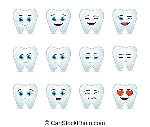 schattig, tand, avatar, uitdrukking, set