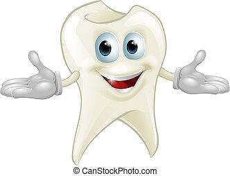 schattig, tand, dentaal, mascotte