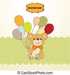 schattig, teddy beer, douche, baby, kaart