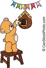 schattig, teddy beer, en, vogel