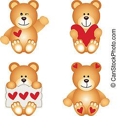 schattig, teddy beer, met, hart