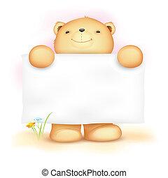 schattig, teddy beer, met, leeg, plank