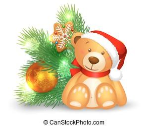 schattig, teddy beer, zittende