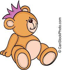 schattig, teddy, kroon, beer, zittende