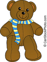 schattig, teddy, met, sjaal, vector