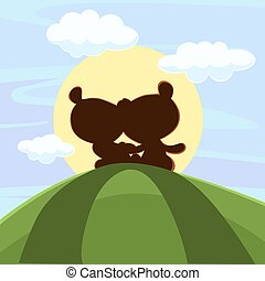 schattig, teddy, ondergaande zon , beer, zittende