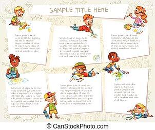 schattig, tekening, kinderen, samen, afbeeldingen