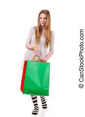 schattig, tiener, shoppen , meisje, zakken