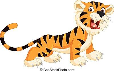 schattig, tiger, spotprent, gebrul