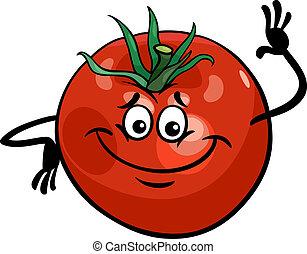 schattig, tomaat, groente, spotprent, illustratie