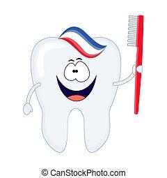 schattig, toothpaste., tand, tandenborstel, vector, spotprent, rood