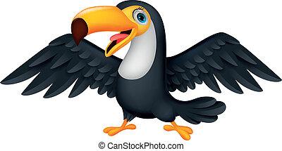 schattig, toucan, vogel, spotprent