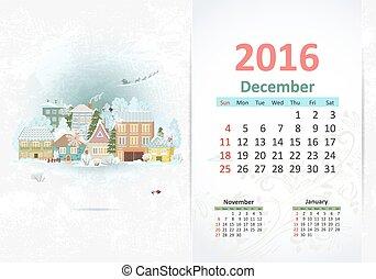 schattig, town., december, 2016, zoet, kalender
