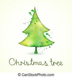 schattig, trending, boompje, illustratie, watercolor, vector, kerstmis, stijl