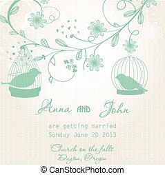 schattig, trouwfeest, twee, uitnodiging, vogels, kooien