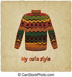 schattig, trui, oud, achtergrond