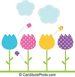 schattig, tuin, lente, vrijstaand, tulpen, witte