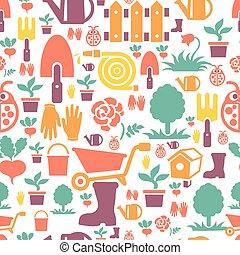 schattig, tuinieren, iconen, model, seamless, plat, ontwerp