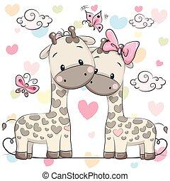 schattig, twee, giraffes