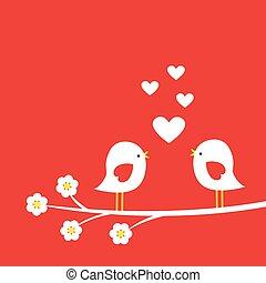 schattig, -, twee, valentijn, tak, bloeien, vogels, dag, kaart