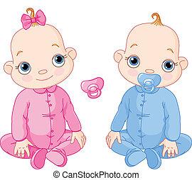 schattig, tweeling, zittende