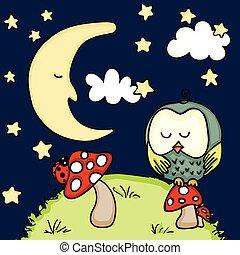 schattig, uil, achtergrond, paddenstoel, nacht