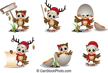 schattig, uil, kerstmis, spotprent, set