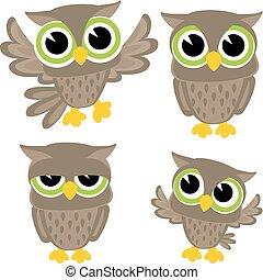schattig, uilen, vector