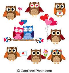 schattig, uilen, voor, valentijn, dag
