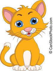 schattig, uitdrukking, spotprent, kat