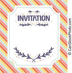 schattig, uitnodiging, evenementen, mal, feestelijk