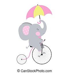schattig, umbrella., fiets, elefant