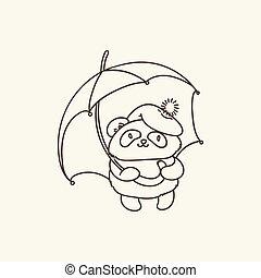 schattig, umbrella., friendship., ecologie, vrede, fauna, panda