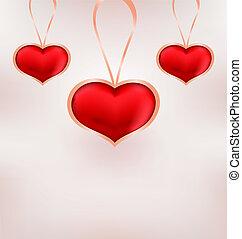 schattig, valentijn, achtergrond, hartjes, dag, rood