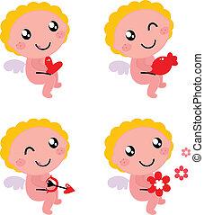 schattig, valentine, cupido, of, engel, vrijstaand, op wit