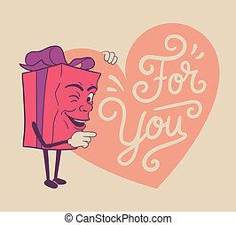 schattig, valentines, cadeau, voor u