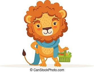 schattig, vasthouden, gekke , groentes, karakter, illustratie, leeuw, vector, dier, afrikaan, mand, fris, spotprent, tuinman